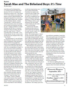 Minnesota Bluegrass and Old-Time Music Association Magazine CD Review July 2015