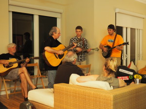 "Our host, Jon Garon, in the middle of the ""jam"" during the Thursday house concert."
